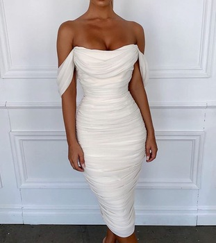 High Quality Celebrity White Lace Off The Shoulder Rayon Bandage Dress Evening Party