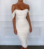 High Quality Celebrity White Lace Off The Shoulder Rayon Bandage Dress Evening Party Dress