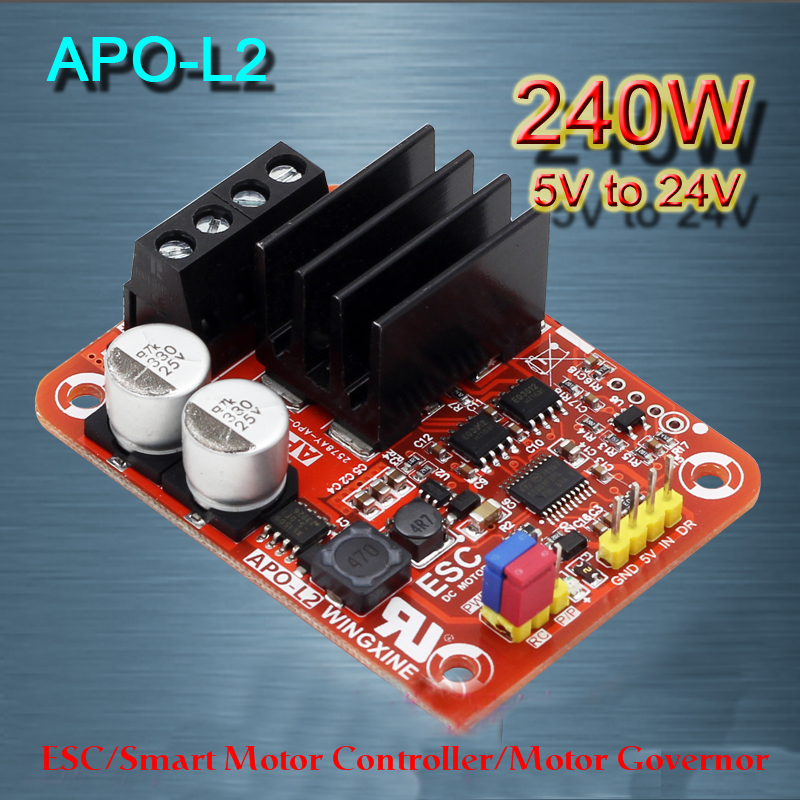 APOL2 three-function brushed DC motor controller + PWM + ESC + governor 240W 12V 24V tracked vehicles, tanks ESC Free shipping digital dc motor pwm speed control switch governor 12 24v 5a high efficiency