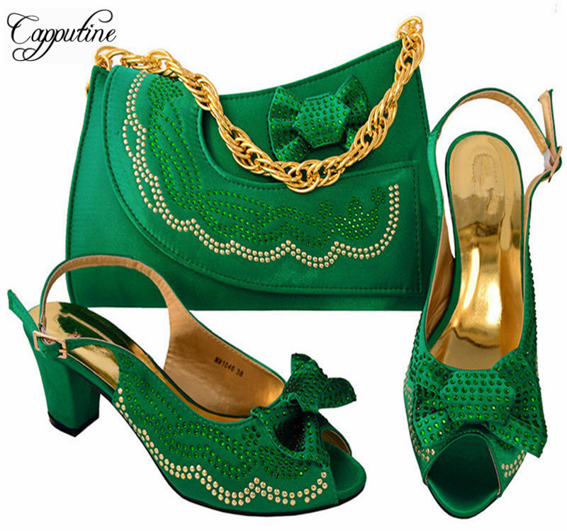 Capputine New Arrival Green Color Nigerian Shoes And Bags Set Italian Rhinestone Woman Shoes And Bag Set For Party MM1046 capputine new arrival woman shoes and bag set nigerian design high heels shoes and bag sets for party free shipping bch 40