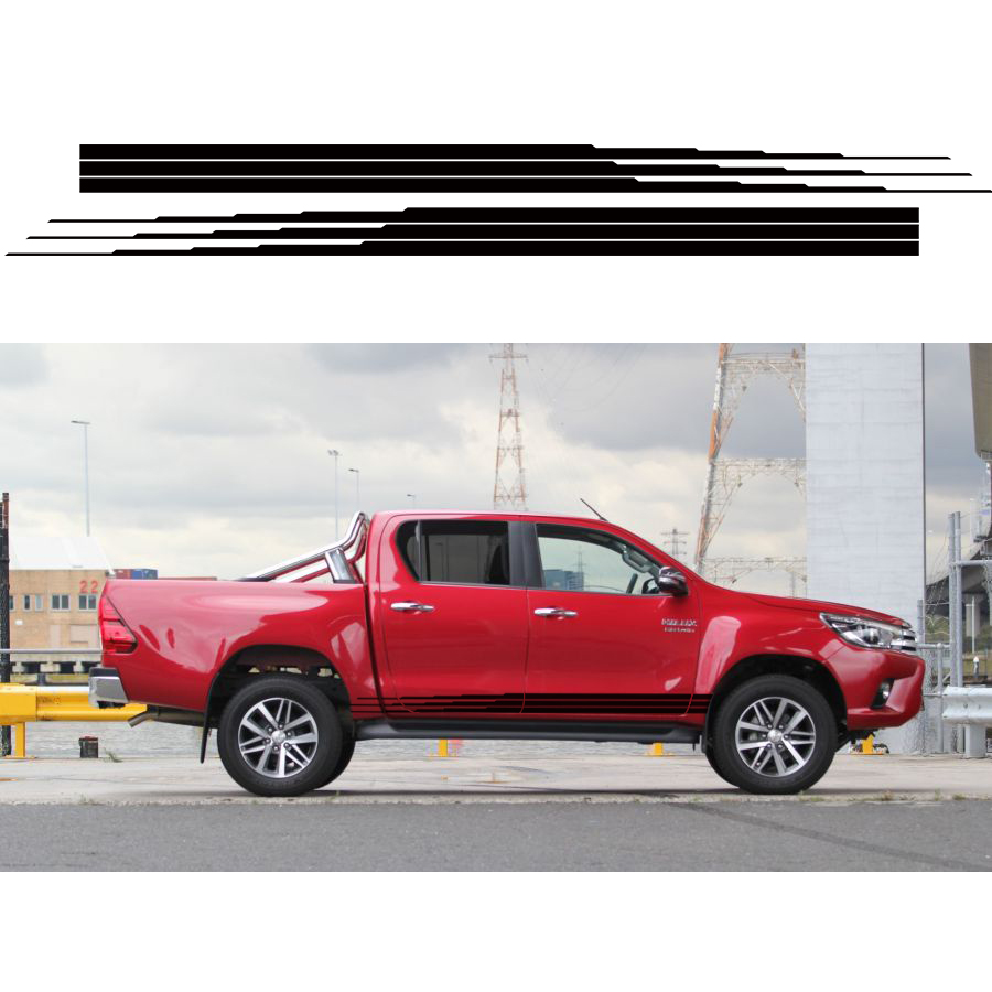 free shipping 2 PC hilux side stripe graphic Vinyl car sticker for TOYOTA HILUX accessories decals free shipping 2 pc gradient side stripe graphic vinyl sticker for dacia logan pickup sticker