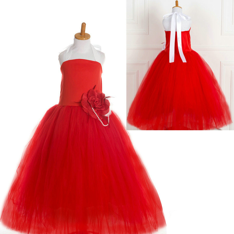 Kids Party Gowns Designs Red Tutu Party Dresses For 8 Year -1286