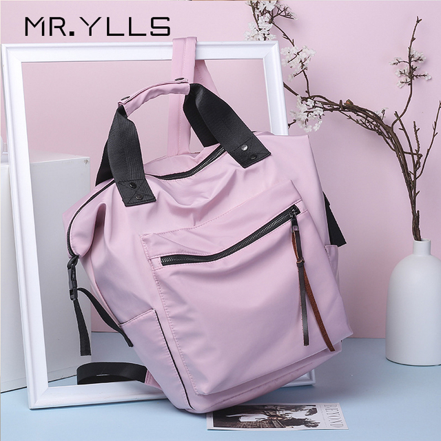 Fashion Nylon Waterproof Backpack Women Large Capacity Schoolbags Casual Solid Color Travel Laptop Backpack Teen Girls Bookbags 1