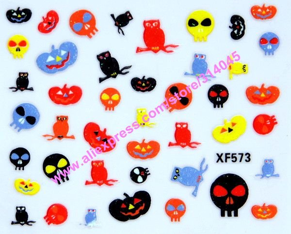 Free shipping New Arrival 30 Kinds Designs Halloween nail stickers decals Holidays Pumpkin decorating stickers