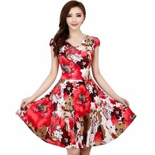Купить с кэшбэком L-4XL 2015 New Fashion women Summer Floral Print Short sleeve V neck Slim Casual sundress Plus Size Beach Dress Bohemian Style
