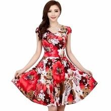 2019 Fashion Women Floral Print Short Sleeve V Neck Slim Casual Sundress Plus Size Beach Dress Bohemian Style Clothes