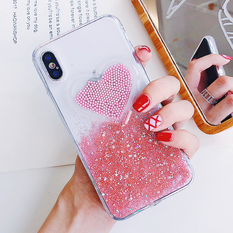 Liquid Glitter Case For iPhone 7 8 6 Plus X Cases Fo iPhone 6S Case Lovely Heart Quicksand Dynamic Clear Cover For iphone 8 Case (4)