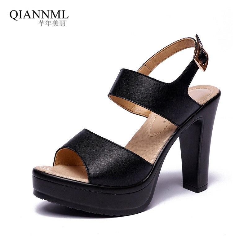 Plus Size 33-43 Qiannml Women's Summer Shoes Platform Sandals 2019 Solid Block High Heel Sandals Women Black White Sandal
