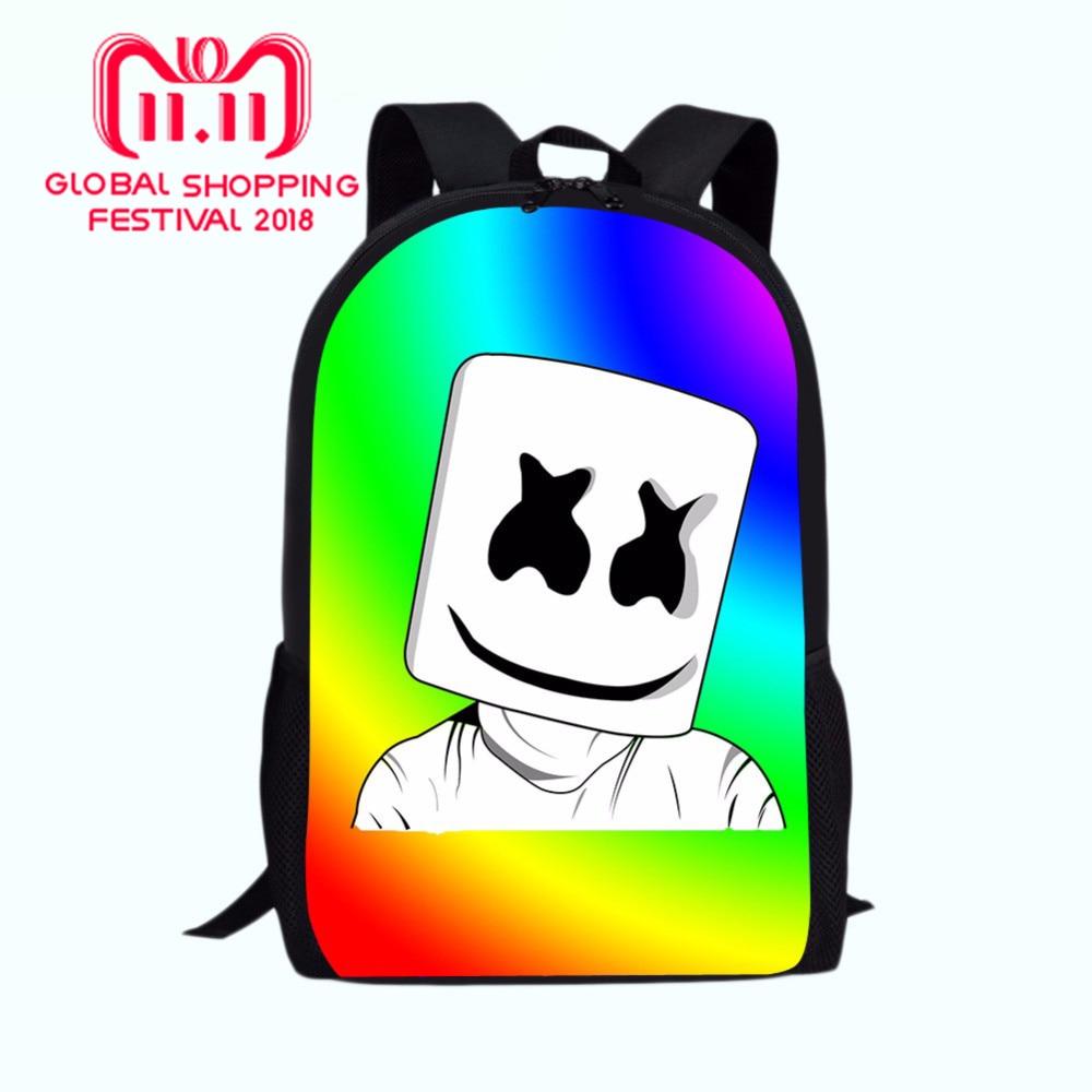 db72e3e9e36 Marshmello rugzak Boys Girls Backpacks School Supplies Junior Printing  School Bags Bagpack Mask DJ Bag School