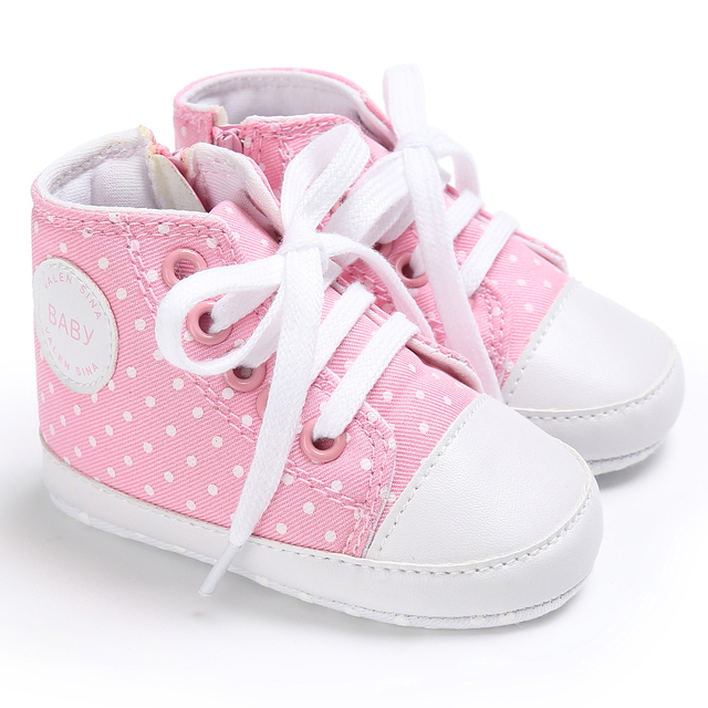 Classic High Top Baby Newborn Girls Boys Sneakers Lace Up Shoes Kids
