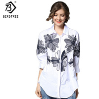 Autumn Spring Women Seven Points Sleeve Blouses Loose Leisure Style Cotton Large Size Floral Embroidery Polo
