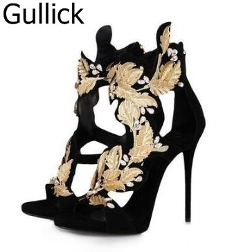 Leaves Sandals Gold Metallic Cutouts High Heels Gladiator Sandalias Cage Women Pump Summer Cruel Heels Zapatos Pumps Free Ship набор батареек duracell basic lr03 18bl