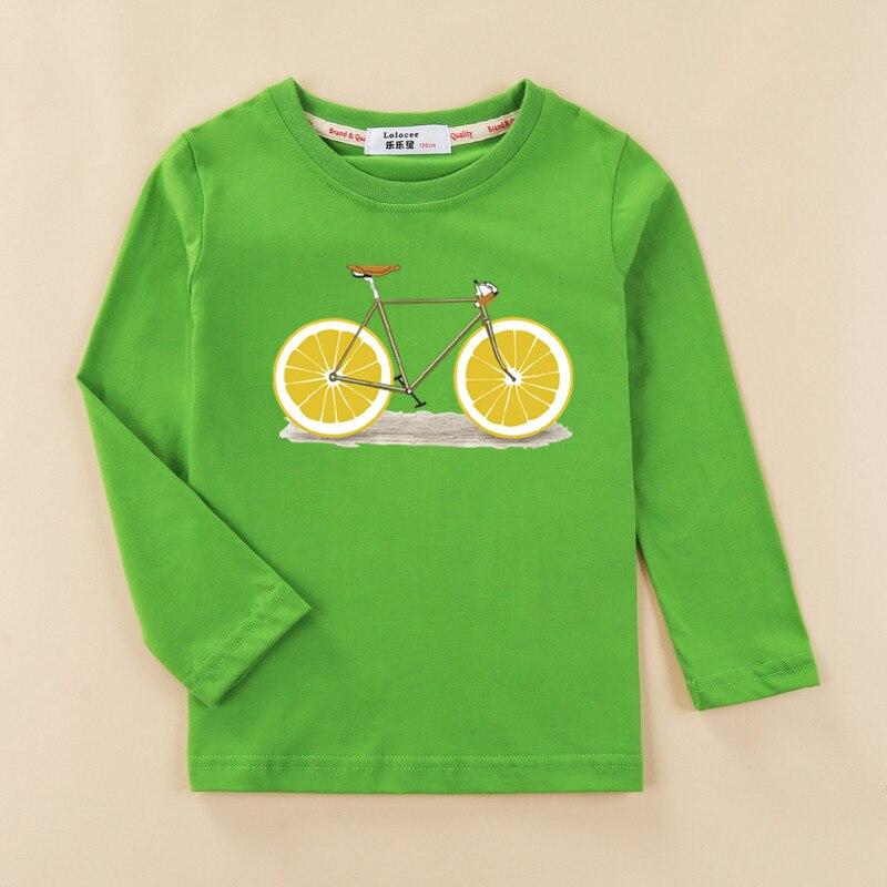 Kids funny fruit bike 3D t shirt baby girl long sleeve print cotton top tees children lemon pattern clothes boy autumn shirt 2