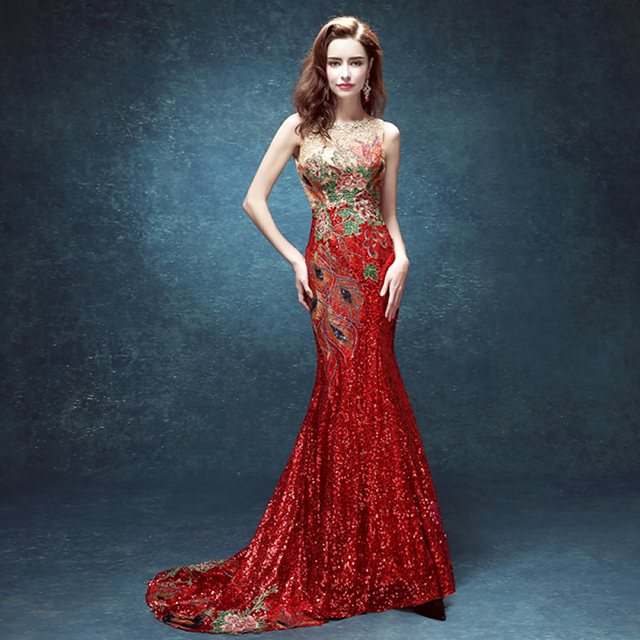 Red Embroidery Tailing Backless Perspective Evening Dress Oriental Dresses Chinese Traditional Cheongsam Bride Wedding Qipao