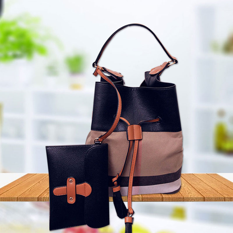 e7c4df9815 AMONCHY Classic Plaid Women Handbags Branded Bucket Bag Colorful Canvas  Stripe Lady Shoulder Bag String Bag Purse With Logo 2018-in Shoulder Bags  from ...