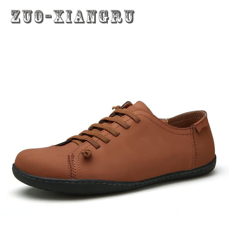 New Minimalist Design Genuine Leather Mens Leisure Flat Spring Autumn Formal  Casual Flat Oxford Shoes High 1df45895fd6