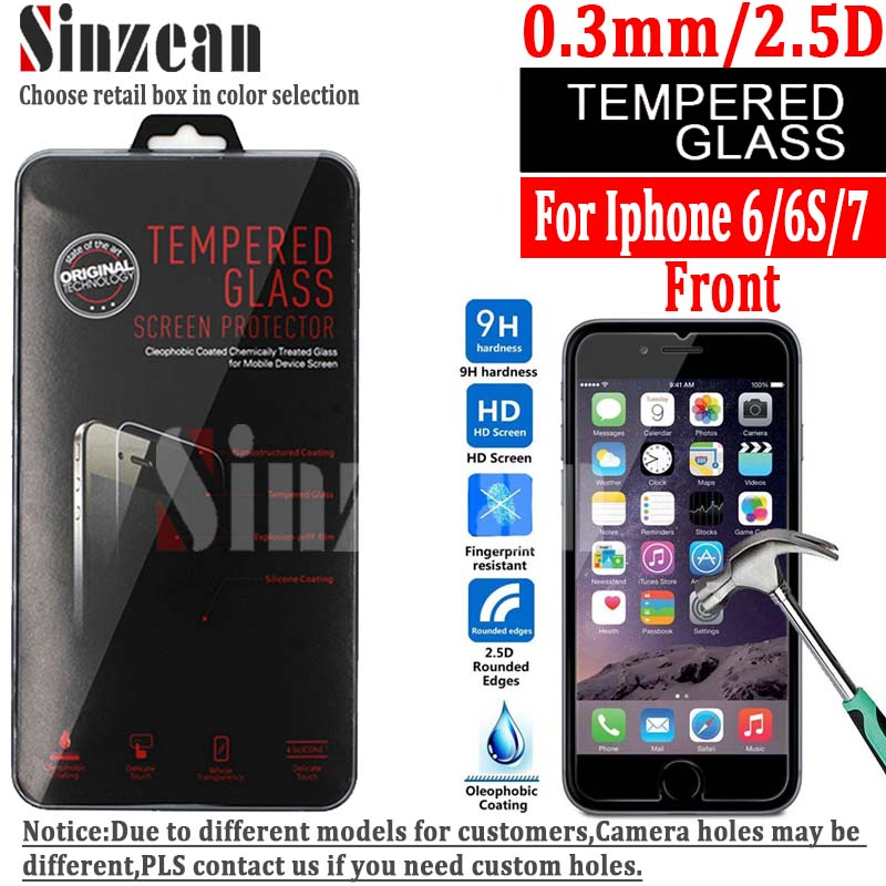 Sinzean 100PCS For iphone 8 7 6S Tempered Glass screen protector for iphone 6 6S 7