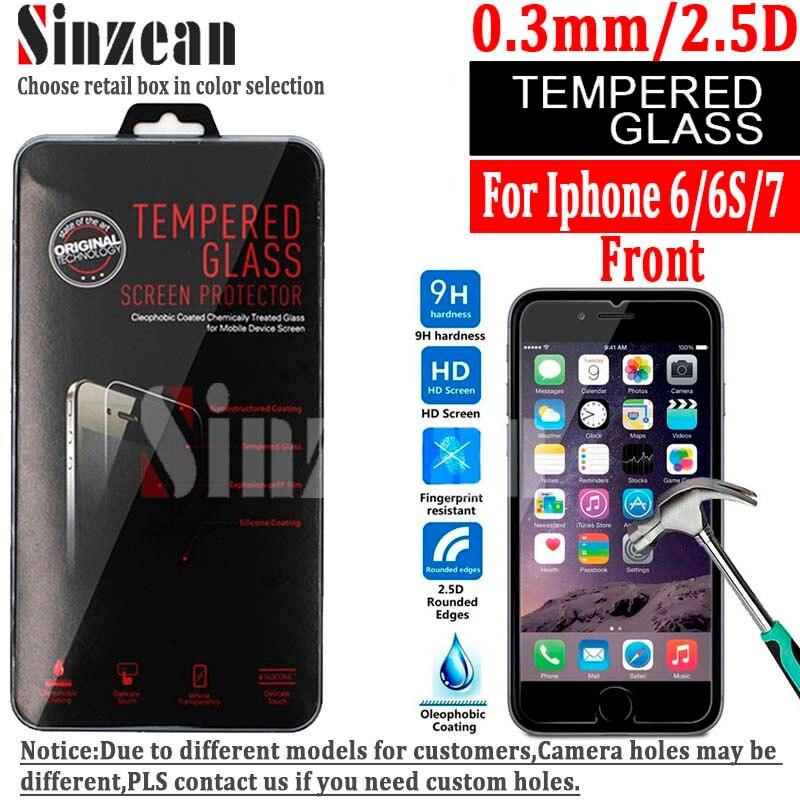 Цена за Sinzean 100 ШТ. НОВОЕ Прибытие Для iphone 6/6s/7 Закаленное протектор экрана Стекло для iphone 6/6s/7 закаленное стекло 0.3 мм 2.5D
