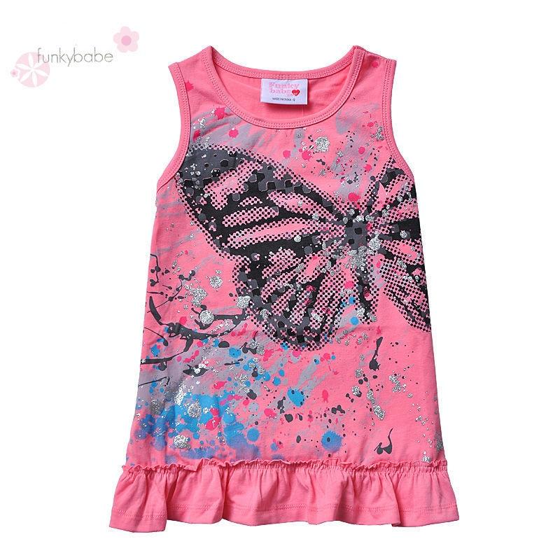 Funky Babe 2015 Butterfly Design Sleeveless Long Shirt For