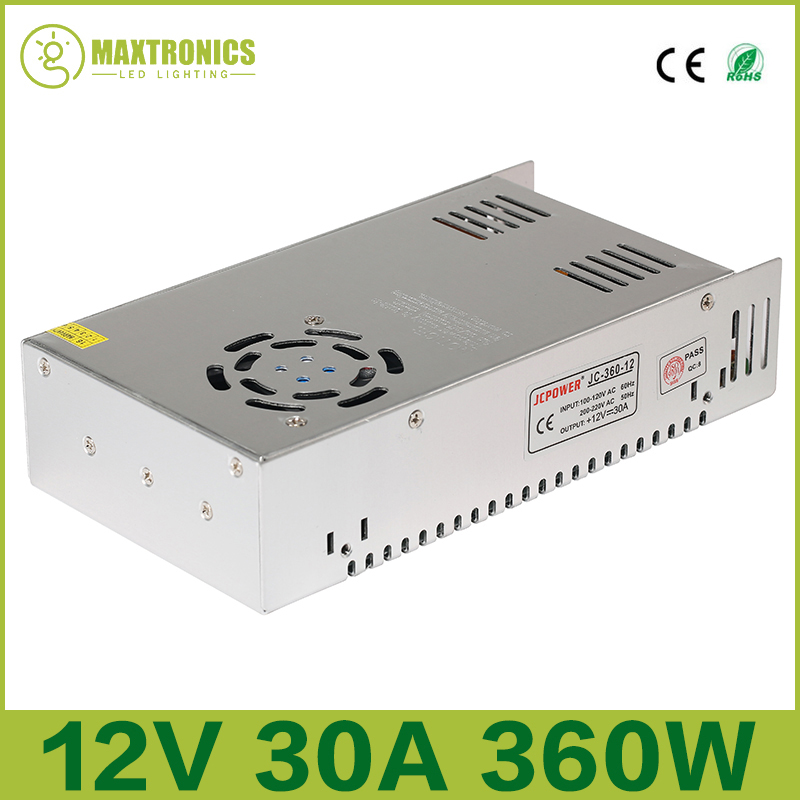 Best quality 12V 30A 360W Switching Power Supply Driver for LED Strip AC 110-240V Input to DC 12V Free shipping ac 85v 265v to 20 38v 600ma power supply driver adapter for led light lamp