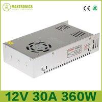 Najlepsza jakość 12 V 30A 360 W Zasilacz impulsowy Sterownik do Taśmy LED AC 110-240 V Wejście dc 12 V Darmowa wysyłka
