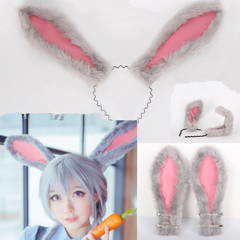 Takerlama New Movie Zootopia Judy Hopps Women Cute Rabbit Plush Ears Tail Cosplay Costumes Halloween Party Props Drop shipping
