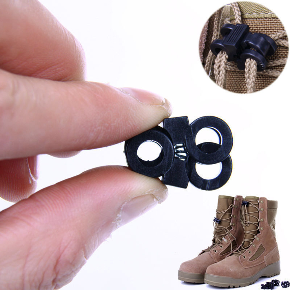 10Pcs Hiking Accessories Shoelace Buckle Clip EDC Gear Tactical Outdoor Boots Shoes Grenade Shoelace Tightening Non-Slip Buckle