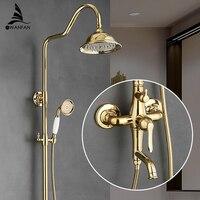 Bath Shower Sets Luxury Gold Brass Shower Faucet Set Single Handle Single Holder Dual Control Bathtub Mixer Hand Shower GY 8336