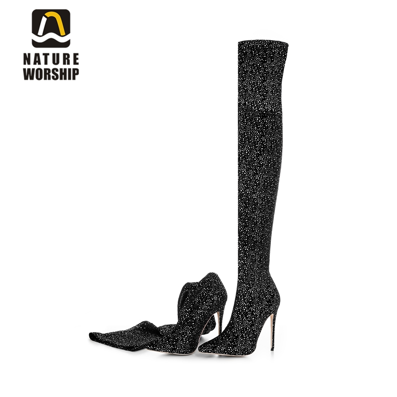 Fashion stilettos thin high heels shoes pointed toe women boots over the knee long boots sequined cloth women shoes size 34-43 pointed toe over the knee boots women high heels sexy motorcycle boots winter shoes women pumps fashion ladies shoes big size