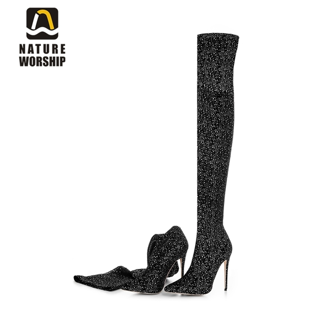 521fe34d88d US $55.43 56% OFF|Fashion stilettos thin high heels shoes pointed toe women  boots over the knee long boots sequined cloth women shoes size 34 43-in ...