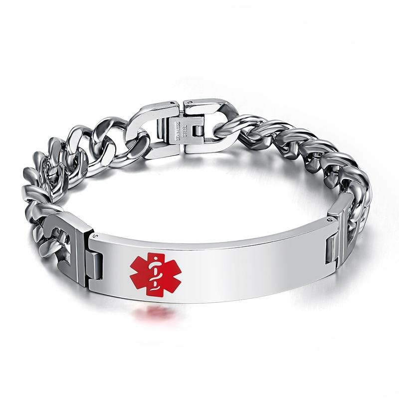 Free Engraving Men S Medical Alert Id Bracelet Tag