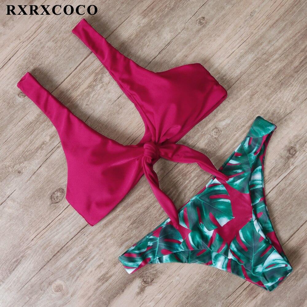 RXRXCOCO Bandage Bikini 2019 Printed Swimwear Women Swimsuit Solid Hollow Out Bathing Suit Low Waist Bikini Padded Push Up Badpa