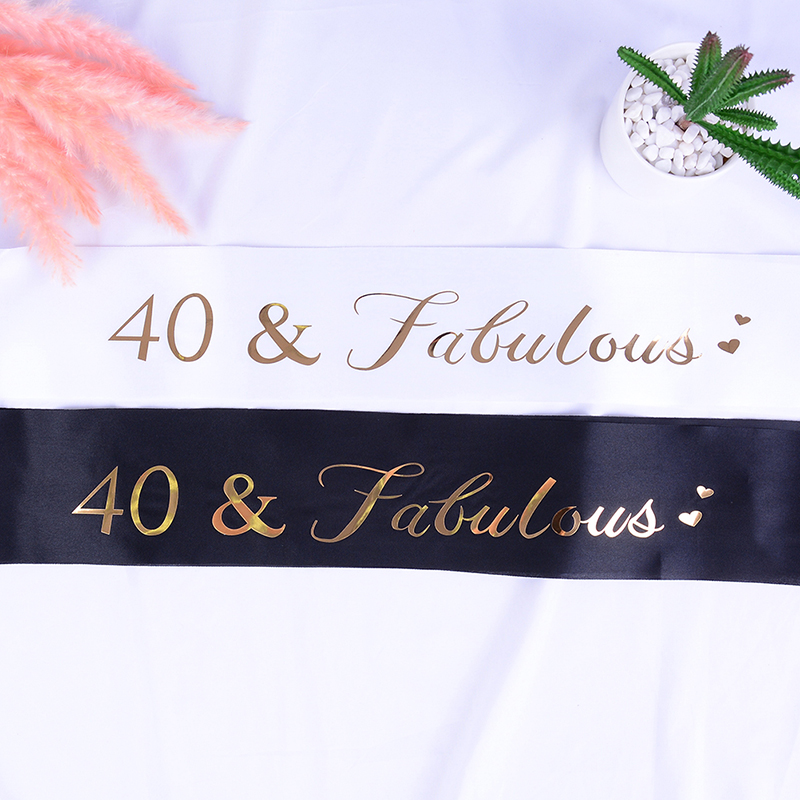 40 & Fabulous Gold Glitter Satin Sash Happy <font><b>40th</b></font> <font><b>Birthday</b></font> Party Decoratons <font><b>Ideas</b></font> Supplies Favor Gifts for Women <font><b>Men</b></font> image
