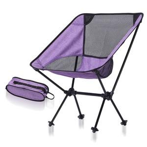 Image 3 - Chaise de pêche intérieure extérieure tabouret de Camping mobilier dextérieur Portable bleu violet léger 600D Oxford chaises en tissu