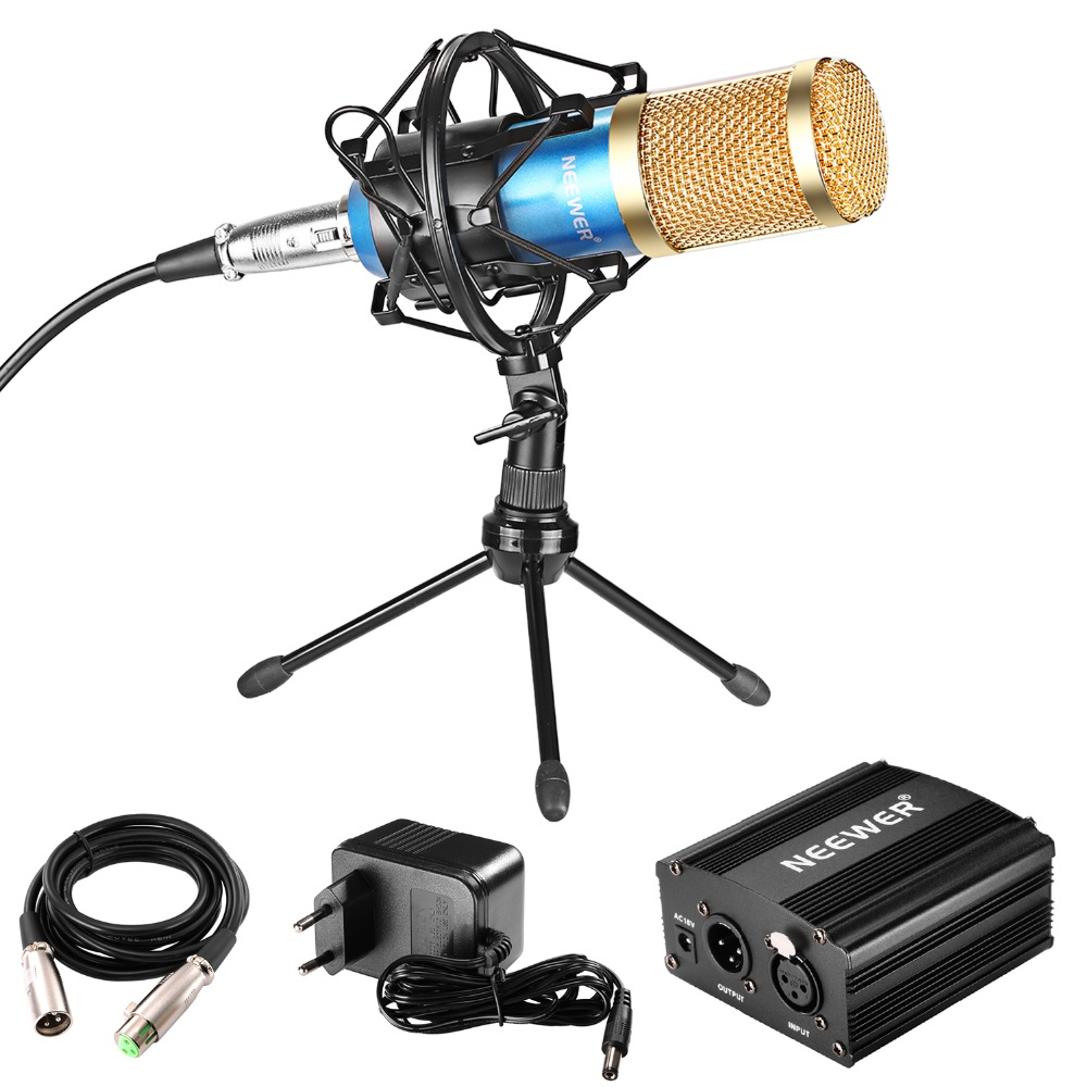 Neewer Professional Audio Condenser Microphone With Mic Shock Mount/48V Phantom Power Supply/Microphone Cable/Desktop Tripod