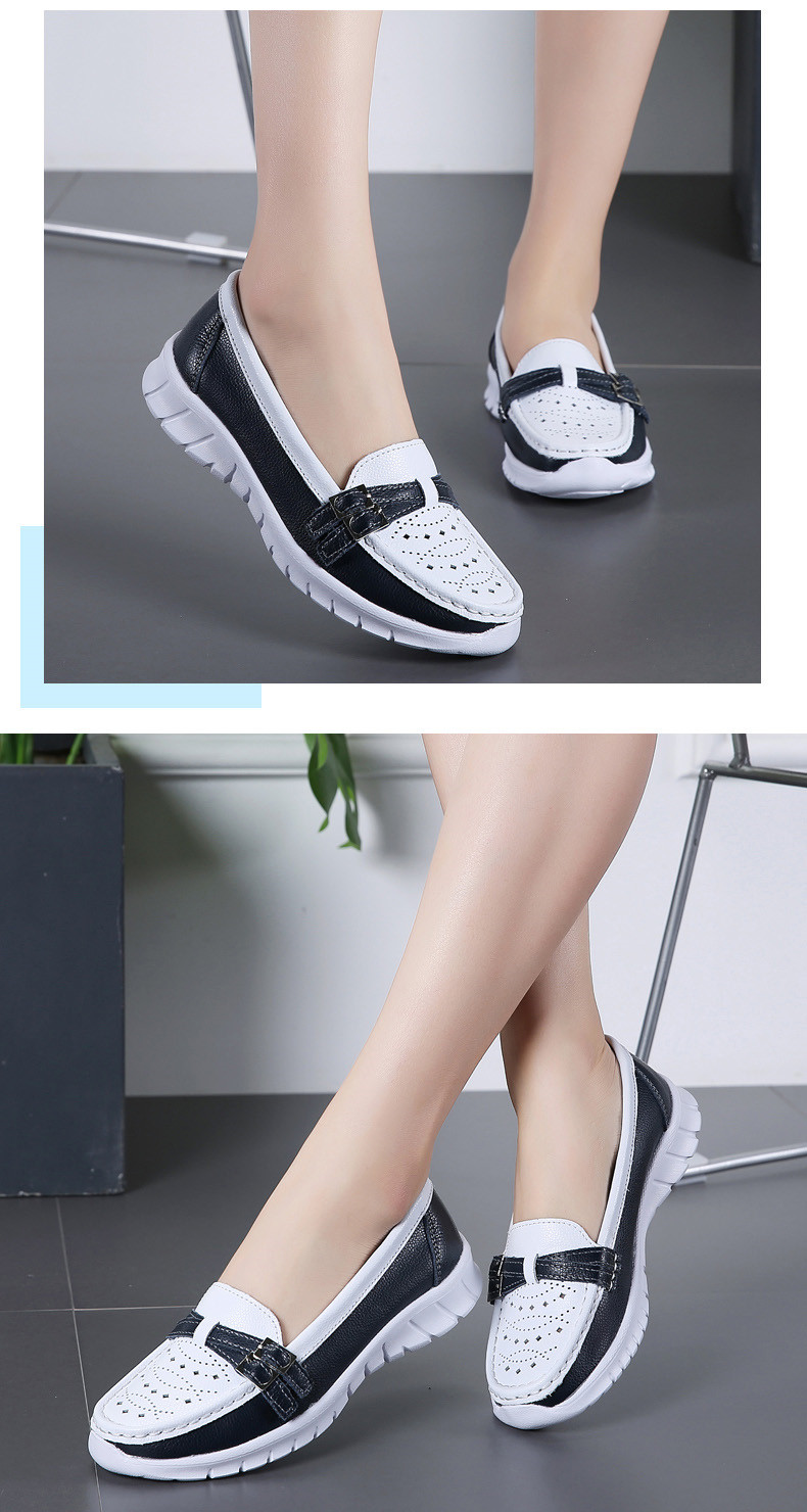 Spring Women Shoes Genuine Leather Handmade Flats Casual Shoes Woman Slip-on Loafers Ballet Flats Ladies Shoes Slipony (25)