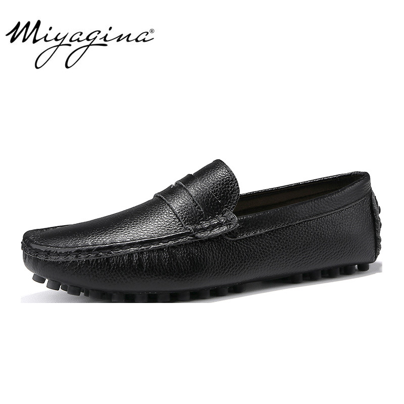 Spring Summer Fashion Men Casual Shoes High Quality Men Genuine Leather Shoes Luxury Brand Men Shoes Slip On Men Flats