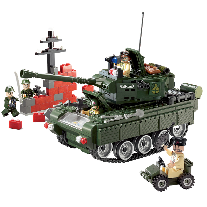 Building Blocks Military Tank DIY Assembling Toys for Children Birthday Gift 466pcs 823 enlighten building blocks navy frigate ship assembling building blocks military series blocks girls