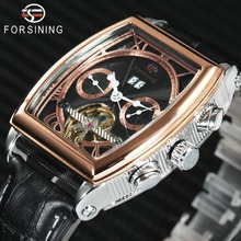 FORSINING Fashion Tourbillon Mechanical Watch Men Leather Calendar Rose Golden Mens Watches Top Brand Luxury relogio masculino