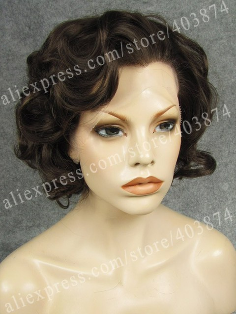8c3a614af96780 N24-6 8 Marilyn Monroe Short Curly Style Natural Brown Charming Color Hair  Wig Synthetic Lace Front Wig