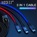! ACCEZZ 3 в 1 USB кабель 2,4 А, зарядный кабель для iPhone 7 8 Plus X XS XR Micro USB Type-C для Samsung S8, Android, шнур для передачи данных