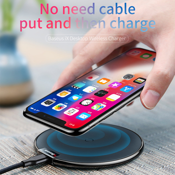 Baseus Leather Qi Wireless Charger For iPhone X 8 Plus Samsung Galaxy Note 8 S8 S7 S6 Edge Desktop Fast Wireless Charging Pad 1