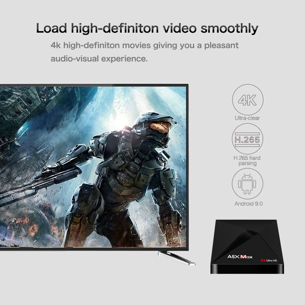 A5X MAX Android 9.0 4GB 32GB TV BOX RK3328 4K BT 4.1 USB 3.0 2.4G WiFi 100M Lan lecteur multimédia intelligent HD2.0 OTT TV BOX - 4