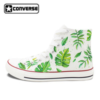 Converse All Star Men Women's Hand Painted Shoes Design Green Leaves High Top White Canvas Sneakers for Gifts Presents