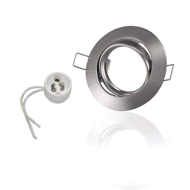 10 stk / lot rundt loft spotlight GU10 / MR16 sokkel Spot lampe base fittings aluminium dhl gratis forsendelse