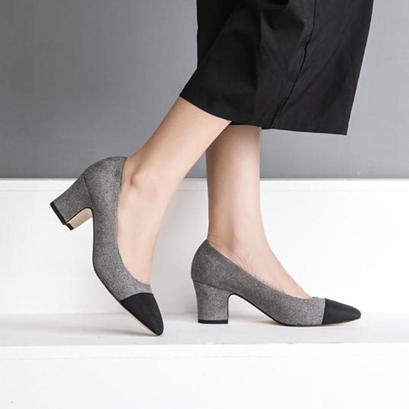 Zapato Gris Tacon Medio