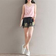 Национальный тенденция вышивка аппликация джинсовые шорты женский эластичный пояс свободные шорты плюс размер