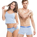 New 95% Cotton Couples Underwear Stripe Underpants Lovers Tamptation Sexy Panties Men Woman Boxers rhinoceros cuecas
