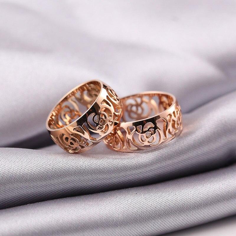 Выдалбливают камелии титана стали кольцо ювелирных изделий 18 К роза золото позолота украшений стали любовь палец кольцо титана для женщины