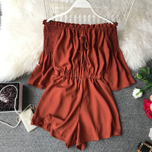NiceMix Fashion Lace Up Off Shoulder Jumpsuit Casual Sexy Women Flare Sleeve Short Summer Solid Slash Neck Playsuit Beach Holida